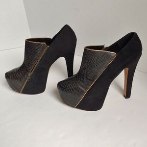 H by Halston snake print and suede platform heels